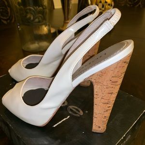 White Kerry Bebe Patent Leather Slingback Heels